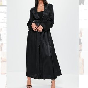 Missguided Crushed Black Satin Duster Coat